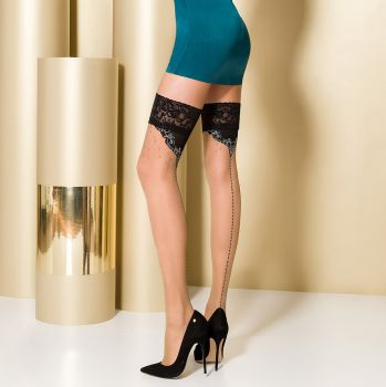 Hold-Up Seamed Stockings ST107 - Nude/Black*