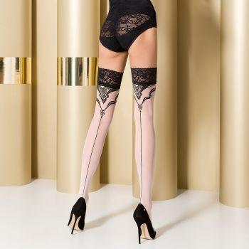 Hold-Up Seamed Stockings ST109 - White/Black*
