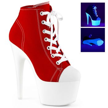 Canvas High Heel Sneakers ADORE-700SK-02 - Red