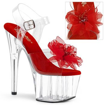 Platform High Heels ADORE-708BFL - Clear/Red