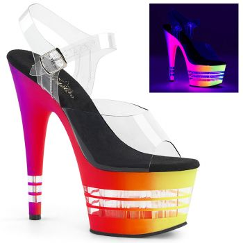 Platform High-Heeled Sandal ADORE-708UVLN - Neon Multi/Clear