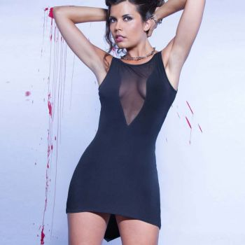 Stretch Mini Dress ALVINA - Black*