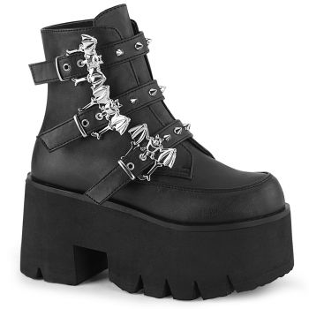 Gothic Ankle Boots ASHES-55 - Faux Leather Black