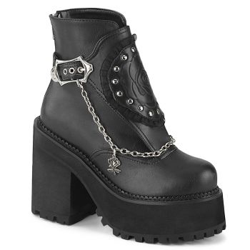 Gothic Ankle Boots ASSAULT-55 - Faux Leather Black