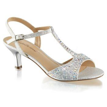 Kitten heel sandals AUDREY-05 - Silver