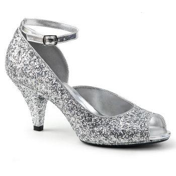 Glitter Peeptoes BELLE-381G - Silver