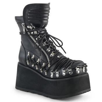 Gothic Ankle Boots CLASH-150 - Faux Leather Black