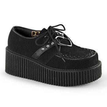 Platform Low Shoes CREEPER-206 - Faux Suede Black