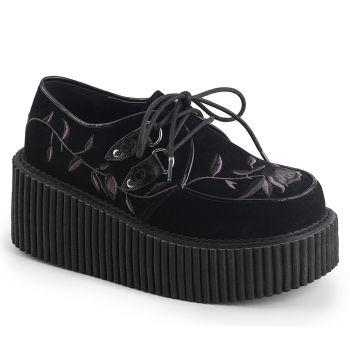 Platform Low Shoes CREEPER-219 - Velvet Black