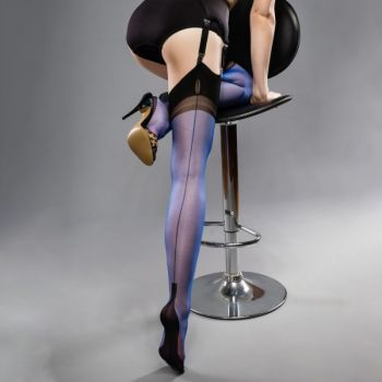 Cuban Heel Full Contrast Seamed Nylons - Blue/Black*