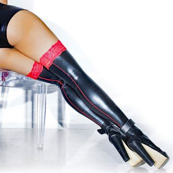 Wetlook Thigh High Stockings with red lace*