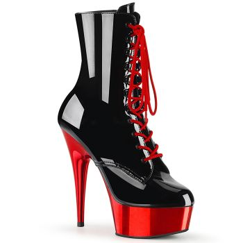 Platform Ankle Boots DELIGHT-1020 - Black/Red