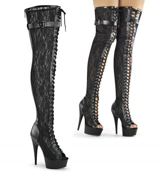 Platform Overknee Boots DELIGHT-3025ML - Lace