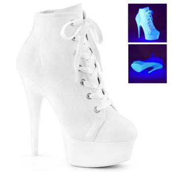 Canvas High Heel Sneakers DELIGHT-600SK-02 - White