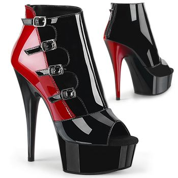 Platform Bootie DELIGHT-681 - Patent Black / Red