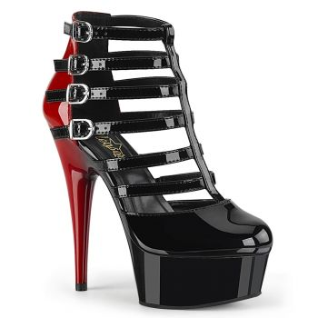 Platform Bootie DELIGHT-695 - Patent Black / Red