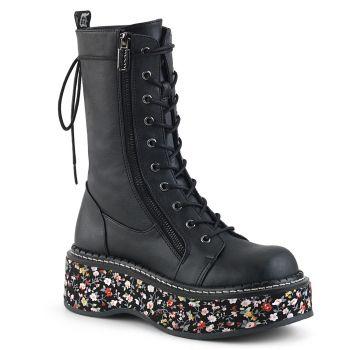Platform Boots EMILY-350 - Black / Floral*