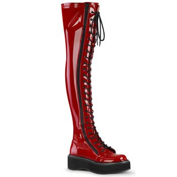 Gothic Platform Boots EMILY-375 - Patent Red*