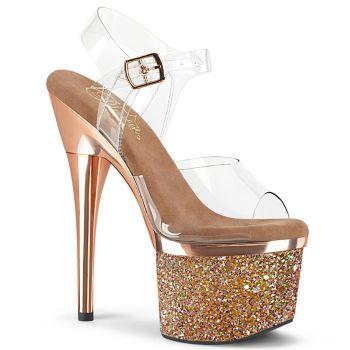 Platform High Heels ESTEEM-708CHLG - Clear / Rose Gold