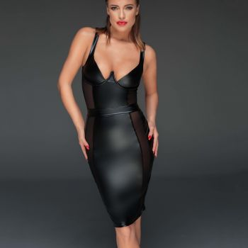 Wet Look Pencil Dress F151 - Black