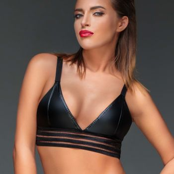 Wet Look Bralette F157 - Black
