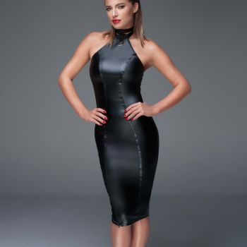Halterneck Wet Look Pencil Dress F160