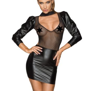 Exciting Power Wet Look Mesh Mini Dess F201
