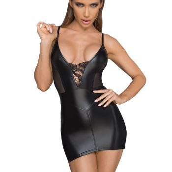 Power Wet Look Straps Mini Dress F205