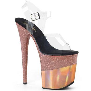 8020778452 Extreme Platform Heels FLAMINGO-808CHLN - Rose Gold, Pleaser
