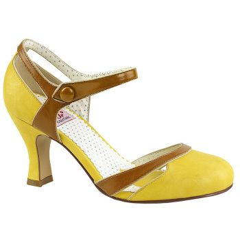 Retro Pumps FLAPPER-27 - Yellow