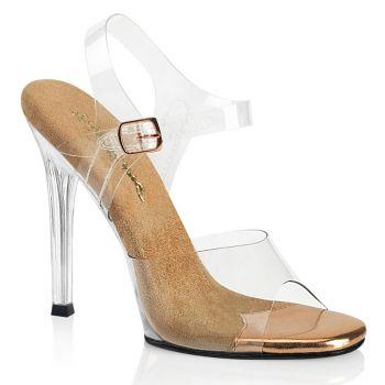 High-Heeled Sandal GALA-08 - Rose Gold/Clear