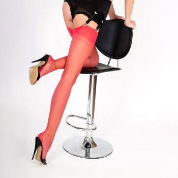 Cuban Heel Seamed Nylons - Coral*