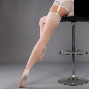 Cuban Heel Seamed Nylons - Ivory*