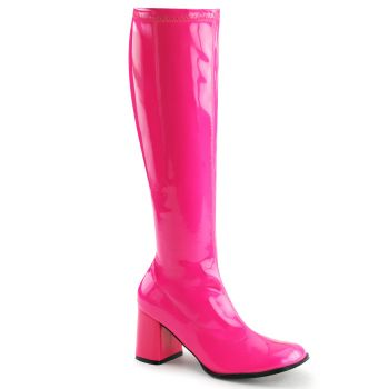 Retro Boots GOGO-300UV - Neon Patent pink*