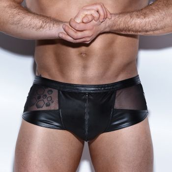 Wet Look Boxer Shorts H046 - Black