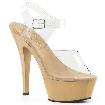 Platform High Heels KISS-208 - Clear/Cream