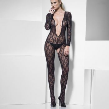 Long Sleeve Lace Bodystocking Crotchless - Black*