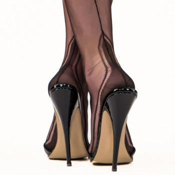 Manhattan Heel Seamed Nylons - Black*