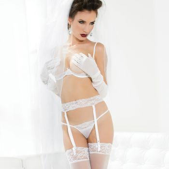 Mesh Lingerie Set - White