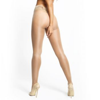 Crotchless Tights P101 With Lace - Beige*