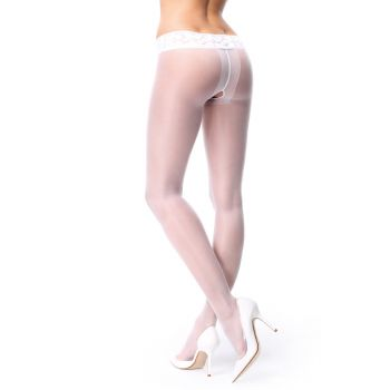 Crotchless Tights P101 With Lace - White*