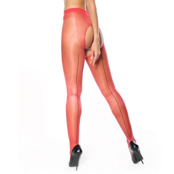 Crotchless Seam Tights P211 - Red*