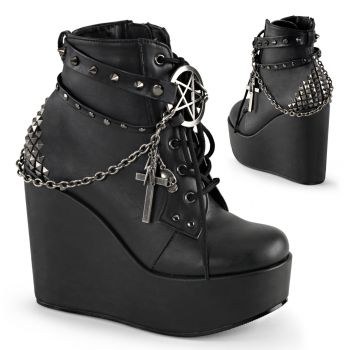 Gothic Platform Wedges  POISON-101 - Black Faux Leather