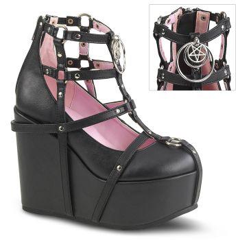 Gothic Platform Wedges  POISON-25-1 - Black Faux Leather