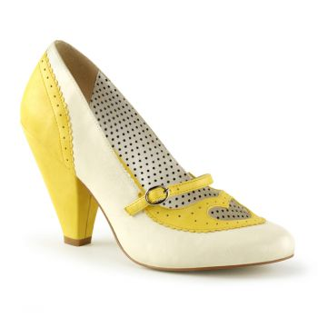 Retro Spectator Pumps POPPY-18 - Yellow/Cream