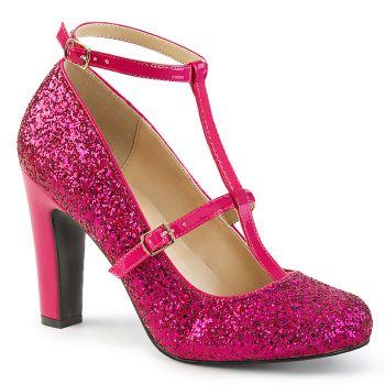 Glitter T-Strap Pumps QUEEN-01 - Hot Pink