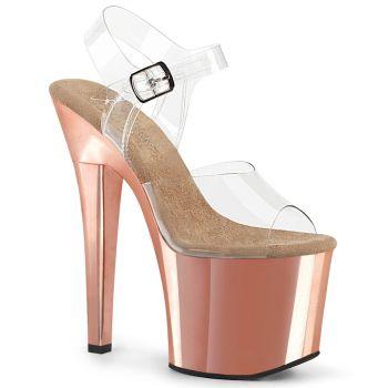 Platform High-Heeled Sandal RADIANT-708 - Rose Gold Chrome