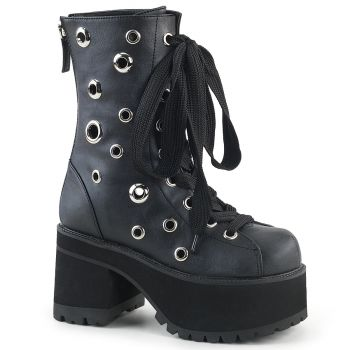 Gothic Platform Boots RANGER-310 - Faux Leather Black