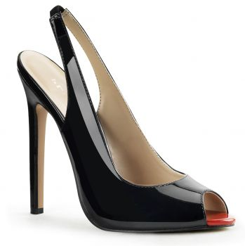 Patent stiletto peep toe sling pumps SEXY-08 - Black