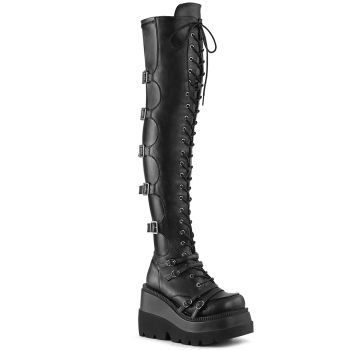 Gothic Platform Boots SHAKER-350 - Faux Leather Black